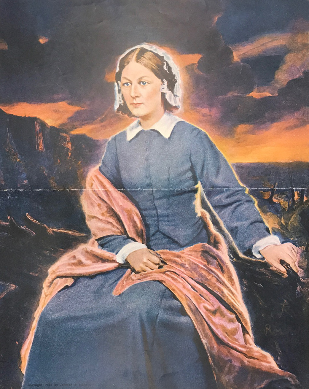 Painting of Florence Nightingale commissioned by Johnson & Johnson in 1946 to honor the profession of nursing.