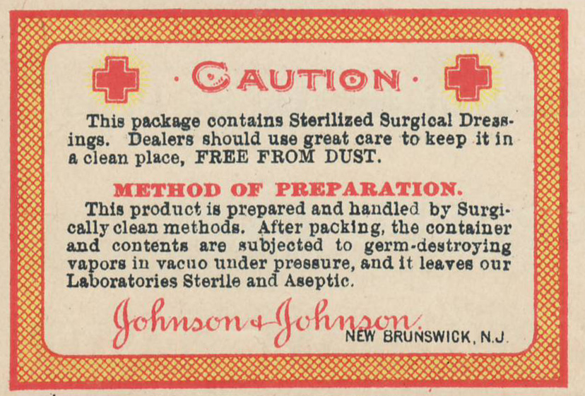Johnson & Johnson Aseptic Dressing Label 1899