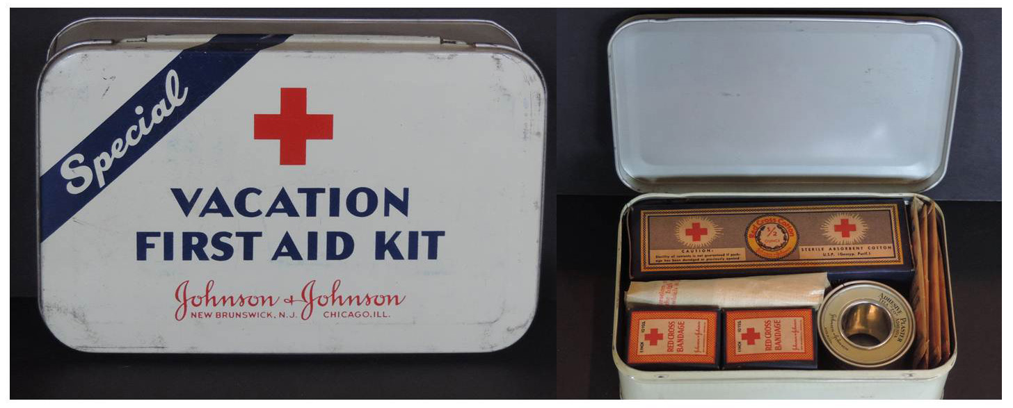 No Johnson & Johnson heritage vacation would be complete without a vintage Johnson & Johnson Vacation First Aid Kit.  This one is from 1942.  Image: Johnson & Johnson Archives.