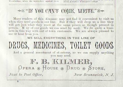 Ad for the Opera House Pharmacy, 1888