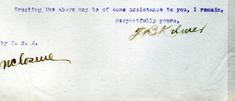 Fred Kilmer's Signature on a Letter