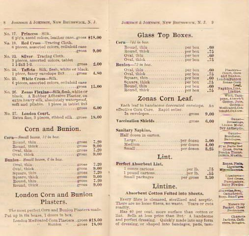 1897 Price List Showing Listing for Sanitary Napkins