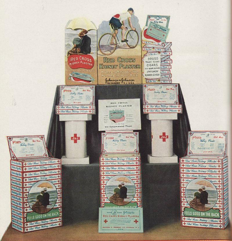 1916 Kidney Plasters Drugstore window display