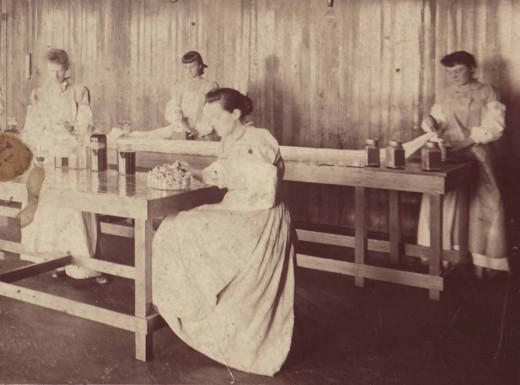 Women employees engated in sterile manufacturing at Johnson & Johnson, 1891