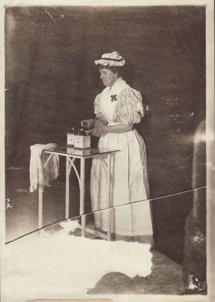 A highly skilled Johnson & Johnson employee in 1892 demontrates the Company's method of packing sterile gauze into hermetically sealable jars.  From our archives.