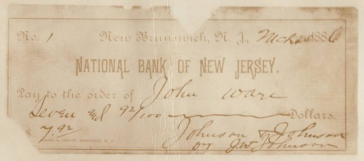 The first check written by Johnson & Johnson, showing that the Company was in business!  From our archives.