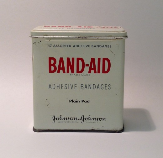 BAND-AID® Brand Adhesive Bandages tin from the 1950s, from our archives.