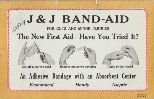 Ad from 1921, the year BAND-AID® Brand Adhesive Bandages were introduced.  From our archives.