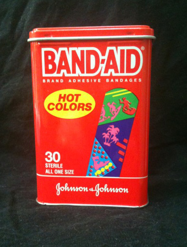 A BAND-AID® Brand Adhesive Bandages tin circa early 1990s.  From this blogger's personal collection.