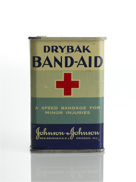 BAND-AID® Brand Adhesive Bandages tin from the 1930s, from our archives.