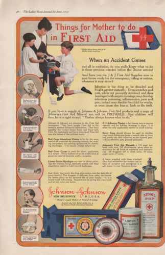 Johnson & Johnson First Aid ad from 1917