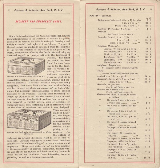 The first Johnson & Johnson First Aid Kits, from our 1888 Price List.  From our archives.