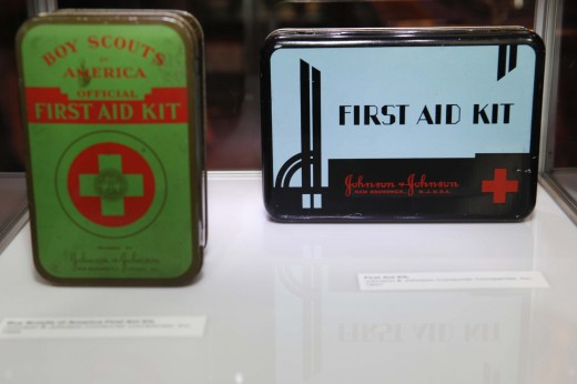 First Aid Kits from the 1930s and 1940s in our mini museum.