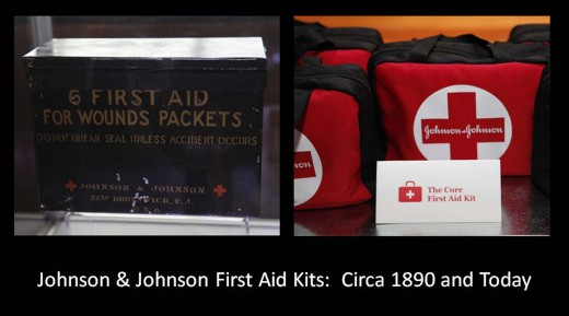 Johnson & Johnson First Aid Kits then and now