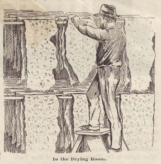 An illustration of one of our earliest employees, in a drawing that was part of an 1887 article about Johnson & Johnson.  From our archives.