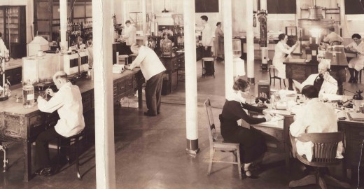 Lab employees at one of our operating companies, 1936.  From our archives.