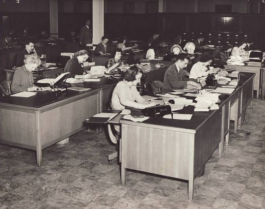 Employees in the Chicopee operating company  office, 1946.  From our archives.