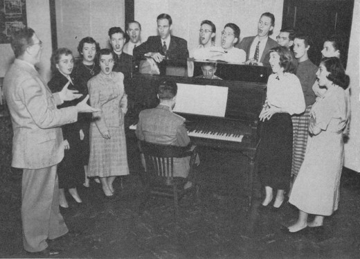 Johnson & Johnson employee Glee Club practice, 1951.  From our archives.