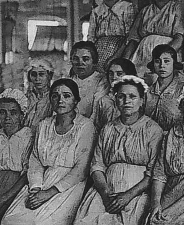 Gauze Mill employees.  Undated photo from our archives.