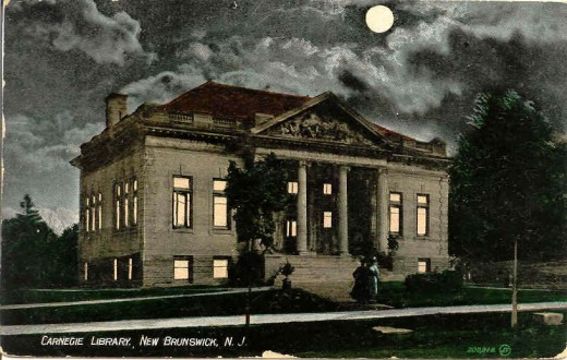 "File this under ""S"" for spooky:  The New Brunswick Free Public Library at night, courtesy of the New Brunswick Free Public Library's online postcard collection at http://www.nbfpl.org/postcards/pc99.jpg."