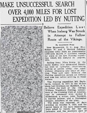 Niagara Falls Gazette August 19, 1925 article about the Johnson brothers' search for the Nutting Expedition, from www.fultonhistory.com.