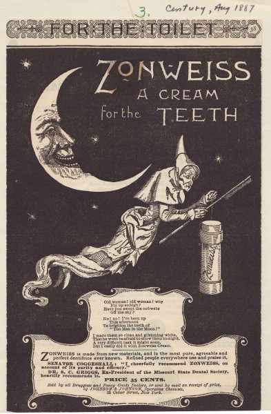 Trick or Treat, brush my teeth...  A very Halloween-appropriate Zonweiss ad from 1887, from our archives.