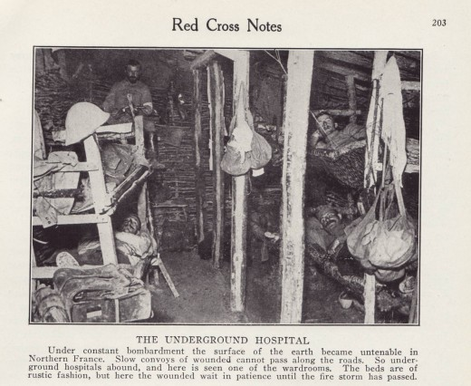An underground trench hospital during World War I, from RED CROSS® Notes, in our archives.