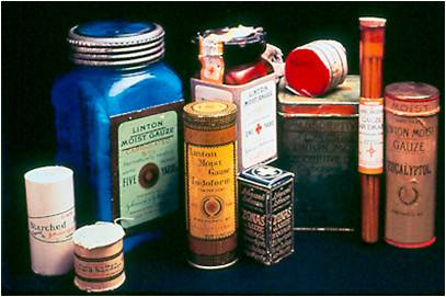 Early Johnson & Johnson sterile surgical products, from our archives.