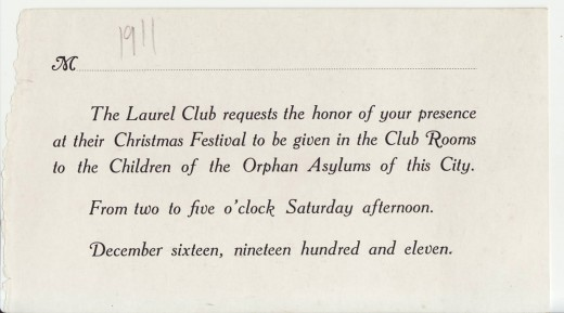 Laurel Club invitation, from our archives.  Support for New Brunswick's underserved children was part of the community work that Elizabeth did.