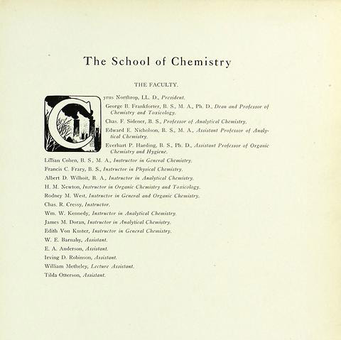 Page from the University of Minnesota 1907 Gopher Yearbook, showing Edith von K-- as an instructor in general chemistry.  Image Courtesy of University of Minnesota Archives, University of Minnesota – Twin Cities.