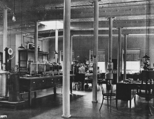 The Johnson & Johnson Scientific Department in 1906.  Our first female scientist, Edith Von K---, was a university educated chemist who joined the Johnson & Johnson Scientific Department in 1906.