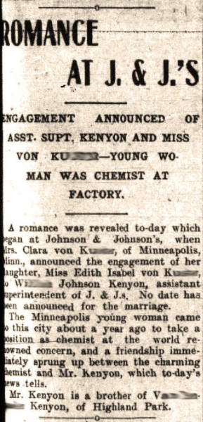 Stop the presses:  an early office romance at Johnson & Johnson!  Clipping from the May 21, 1909 front page of The Home News, courtesy of The New Brunswick Free Public Library.