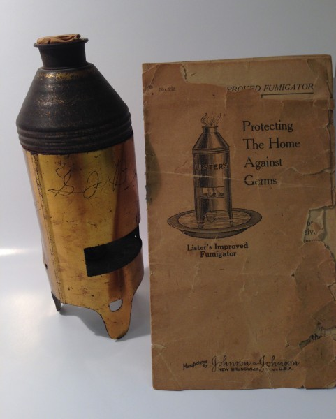 A Lister's Fumigator and its instruction booklet, more than 100 years old.