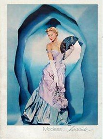 Charles James and Johnson & Johnson:  innovation meets innovation in an ad featuring a Charles James gown.