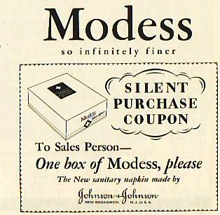 No need to say a word.  A silent purchase coupon from a MODESS® ad.  From our archives.