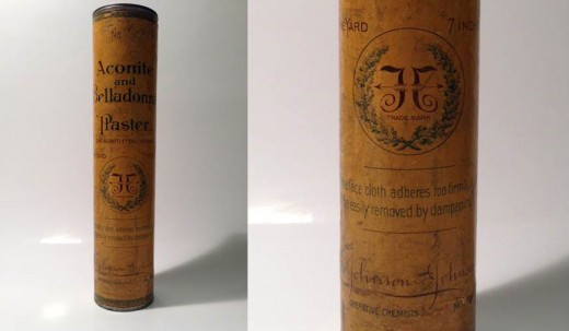 "Johnson & Johnson medicated plaster from 1887, with a close up of the early ""double J"" logo."