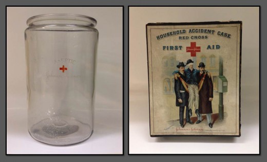 Johnson & Johnson Aseptic Jar and 1903 First Aid Kit, donated by J.S. as part of our call for artifacts.