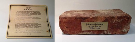 A brick from the early history of Johnson & Johnson, along with its certificate of authenticity!