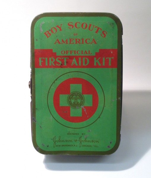 A Johnson & Johnson Boy Scouts First Aid Kit from 1945, from the Boy Scouts of America!