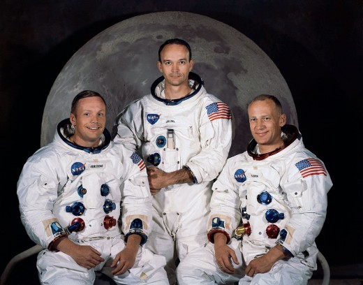 Public domain NASA photo of the Apollo 11 astronauts, whose medical kit contained BAND-AID® Brand Adhesive Bandages!  Pictured from left to right are Neil A. Armstrong, commander; Michael Collins, command module pilot; and Edwin E. Aldrin Jr., lunar module pilot.  Photo courtesy of Wikimedia Commons at this link:  http://commons.wikimedia.org/wiki/Apollo_11#mediaviewer/File:Apollo_11.jpg
