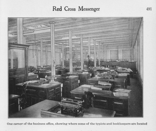 "The Johnson & Johnson business office, 1916.  From our archives.  The ""computing machine"" is not, unfortunately, shown in this photograph."