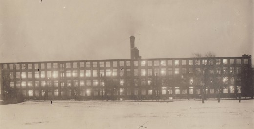 A rare photograph of the Johnson & Johnson Cotton Mill at night, from our archives.  This is how the Mill would have looked as employees worked around the clock to meet the demand for dressings and bandages to treat wounded soldiers.