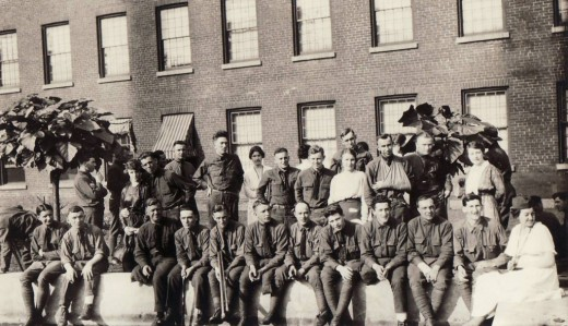 Members of the Laurel Club at Johnson & Johnson with wounded soldiers, WWI.  From our archives.