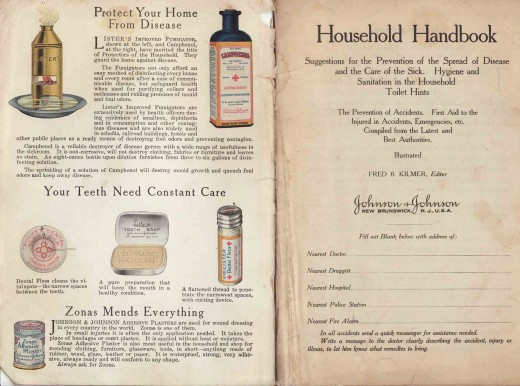 Inside cover of the Johnson & Johnson Household Hand Book, showing some of the Company's early public health products.  From our archives.