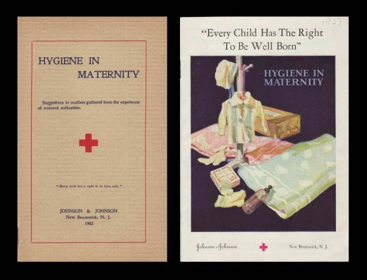 Johnson & Johnson Hygiene in Maternity Booklet, 1902 (left) and 1927 (right).  From our archives.