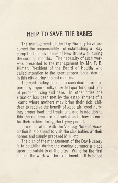 """Save the Babies"" information from early New Brunswick, New Jersey infant health campaign.  from our archives."