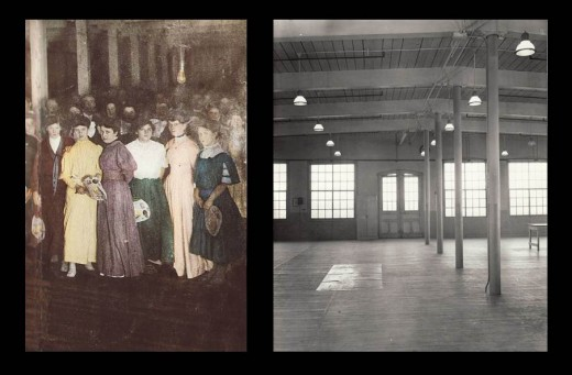 Employees at the dance celebrating the opening of the Johnson & Johnson Cotton Mill Addition in 1908 (left), and a view of the Cotton Mill empty interior (right) with hardwood floors – perfect for dancing!