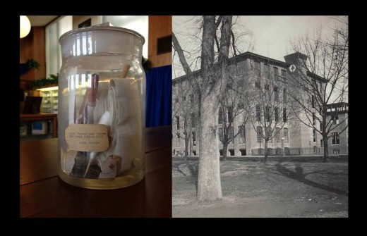 The 1901 Cotton Mill Time Capsule (left) and the Cotton Mill in 1901, from our archives.