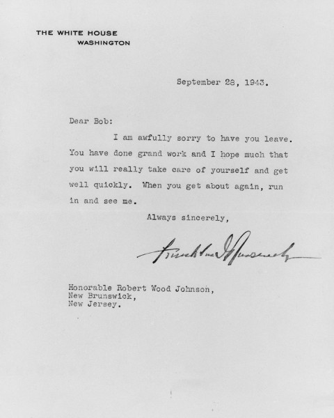 Personal letter from President of the United States Franklin Delano Roosevelt to General Robert Wood Johnson, from our archives.