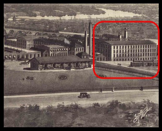 The first Johnson & Johnson building, from a panoramic illustration of the Johnson & Johnson campus in 1908.  The cotton storage shed, formerly the railroad freight house, also can be seen in this image.  From our archives.